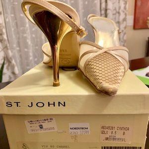 St John gold sling back pumps